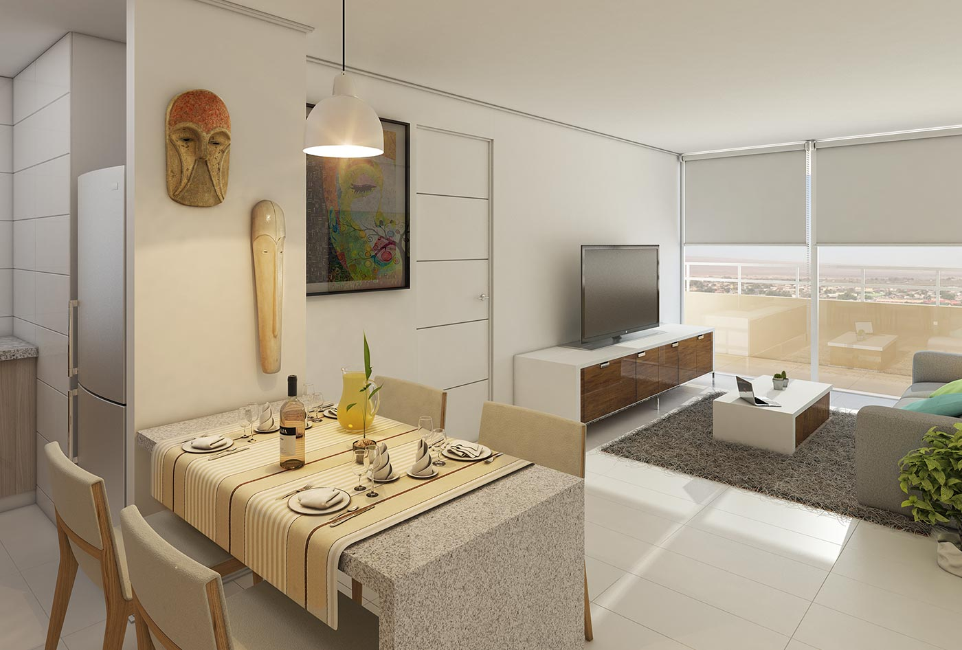 Render living comedor edificio terrazas del loa for Ideas para decorar living departamento